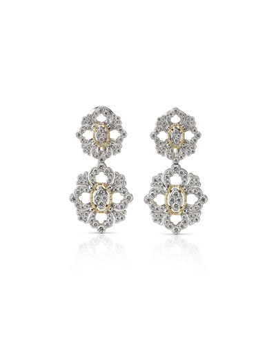 Carelle 18k Moderne 3-Ring Pave Diamond Earrings, 1 1/8