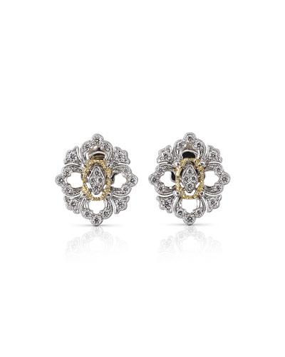 Opera 18k Pave Diamond Button Earrings