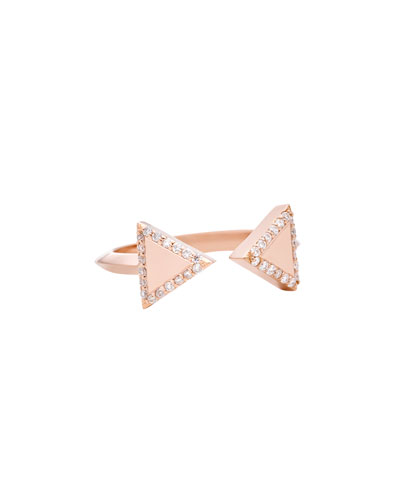 Unity Two 18K Rose Gold Triangle Ring with Diamonds