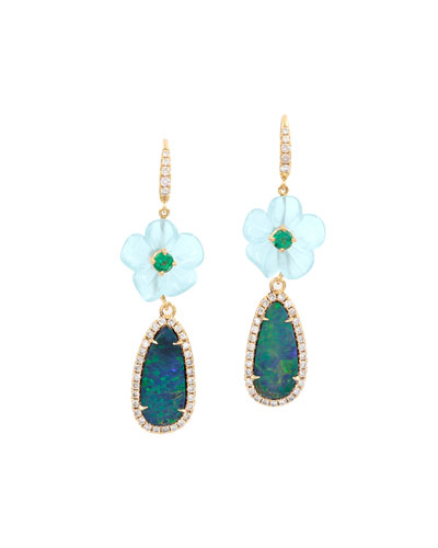Floral Aquamarine & Opal Drop Earrings with Diamonds