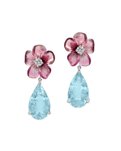 Pink Tourmaline & Aquamarine Teardrop Earrings with Diamonds