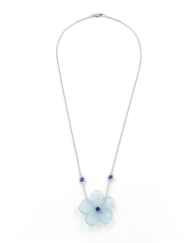 Hand-Carved Aquamarine Flower Necklace with Sapphires
