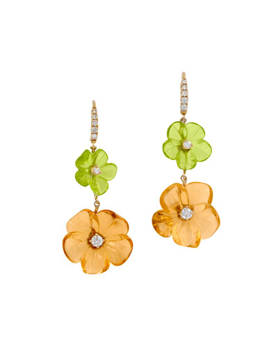 Hand-Carved Citrine & Peridot Flower Earrings with Diamonds