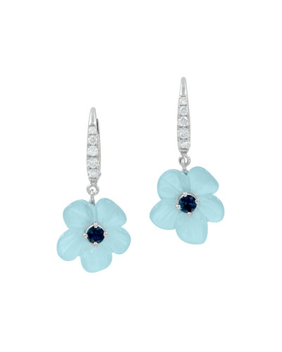 Hand-Carved Aquamarine & Diamond Flower Earrings
