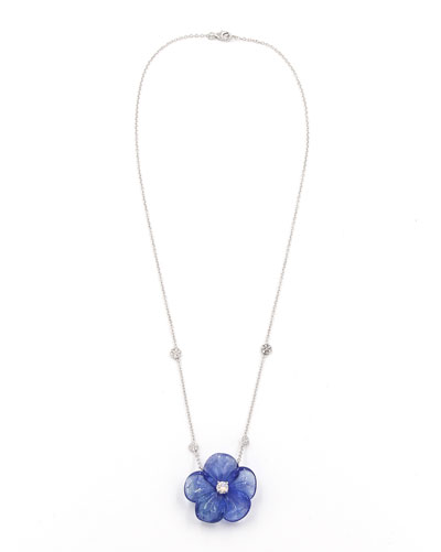 Hand-Carved Tanzanite & Diamond Flower Pendant Necklace, 0.40 tdcw
