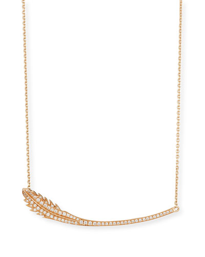 Phoenix 18K Rose Gold Feather Necklace with Diamonds