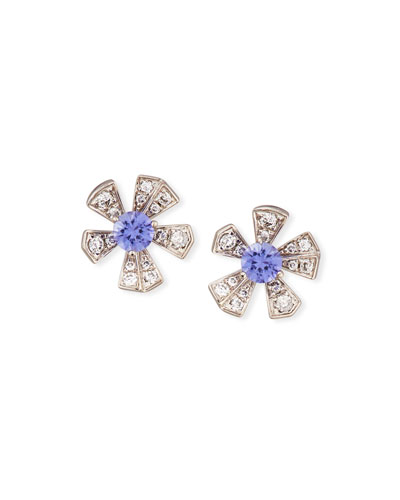 The Wonderland Purple Sapphire & Diamond Flower Earrings
