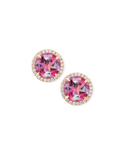 18K Rose Gold Pink Topaz Diamond Halo Stud Earrings