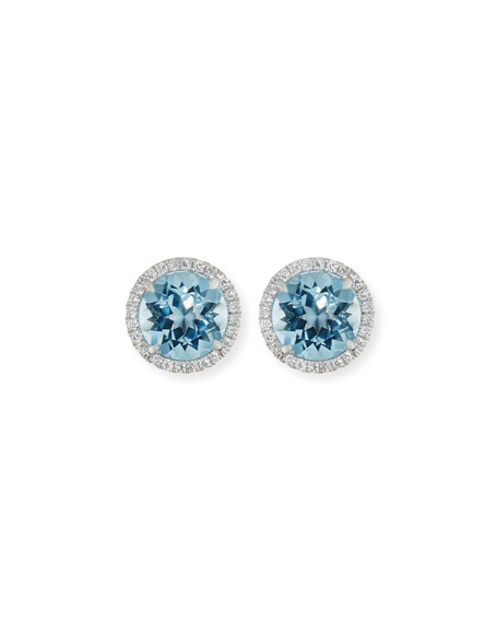 Frederic Sage 18K White Gold Blue Topaz Diamond Halo Stud Earrings