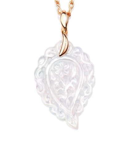 Signature India Leaf Pendant Necklace with Diamonds in 18K Rose Gold