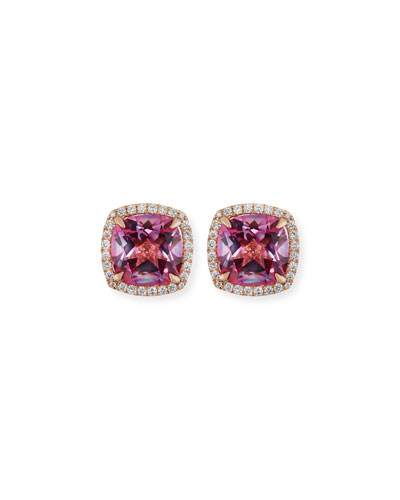 18K White Gold Pink Topaz Diamond Halo Stud Earrings