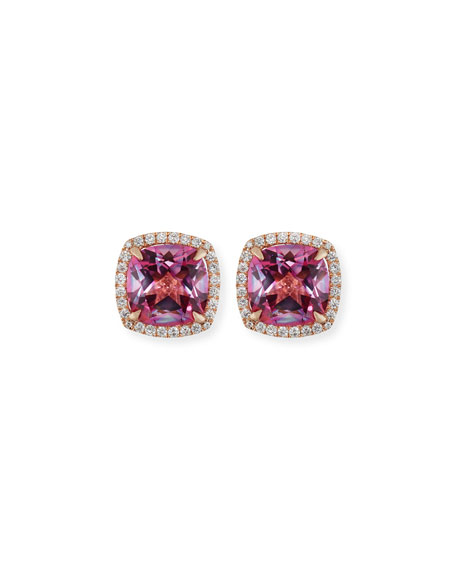 Frederic Sage 18K White Gold Pink Topaz Diamond Halo Stud Earrings