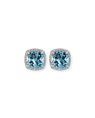 18K White Gold Blue Topaz Diamond Halo Stud Earrings