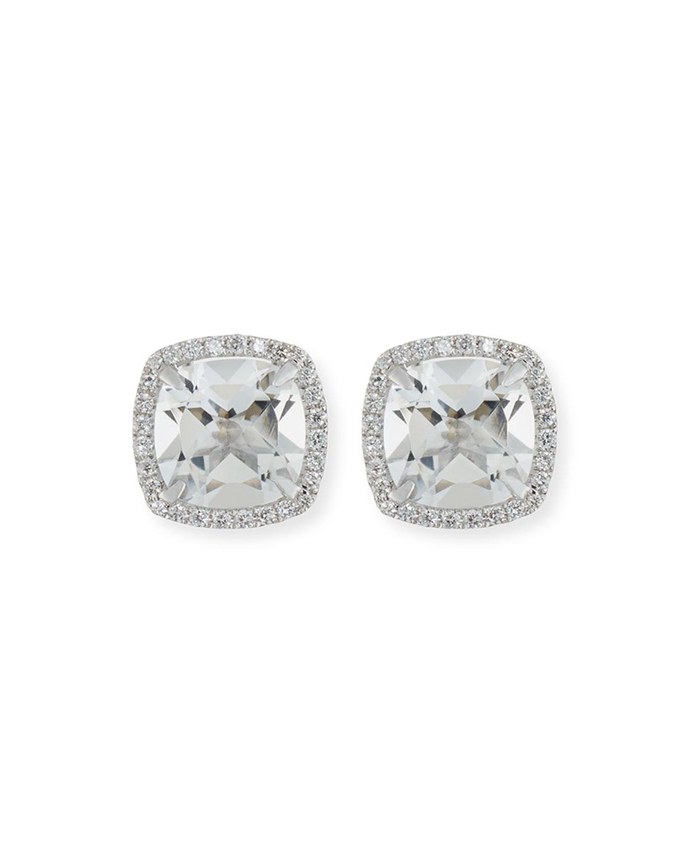18K White Gold White Topaz Diamond Halo Stud Earrings