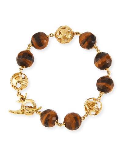 Faceted Tiger's Eye Toggle Bracelet