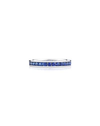 18k White Gold Blue Sapphire Eternity Ring