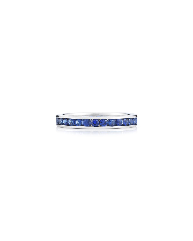 18k White Gold Blue Sapphire Eternity Ring