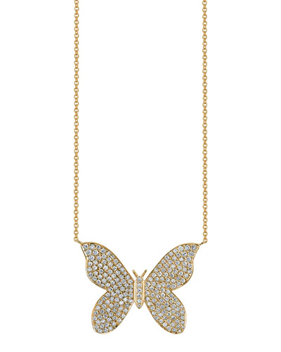 Large Pave Diamond Butterfly Pendant Necklace