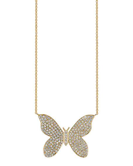 Sydney Evan Large Pave Diamond Butterfly Pendant Necklace