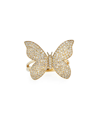 Large Pave Diamond Butterfly Ring, Size 7.5