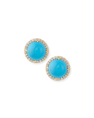 Turquoise Cabochon & Diamond Stud Earrings