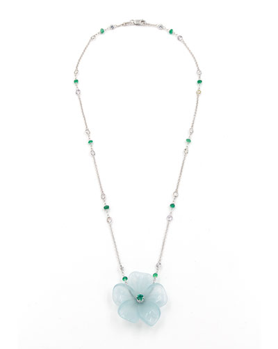 Hand-Carved Aquamarine Flower Necklace