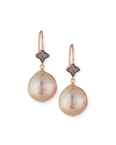 Rose Golden Baroque Pearl & White Sapphire Drop Earrings