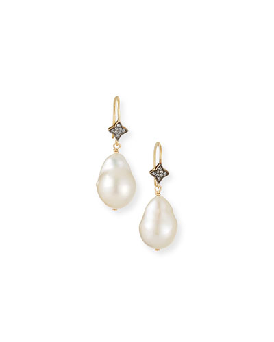 White Baroque Pearl & White Sapphire Earrings