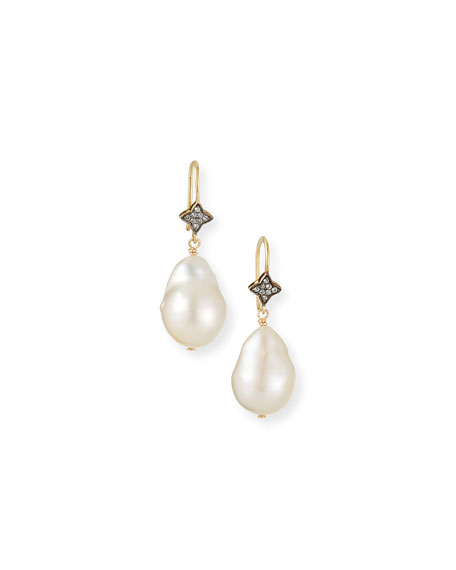 Margo Morrison White Baroque Pearl & White Sapphire Earrings