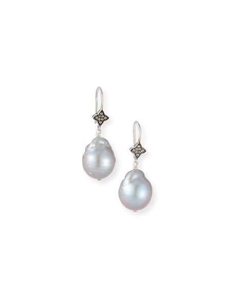 Margo Morrison Gray Baroque Pearl & White Sapphire Earrings