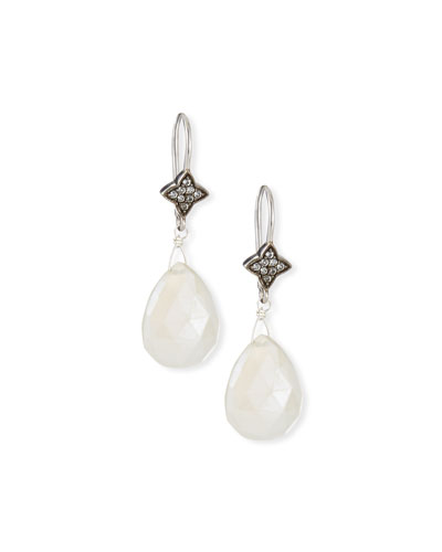White Chalcedony & Sapphire Drop Earrings