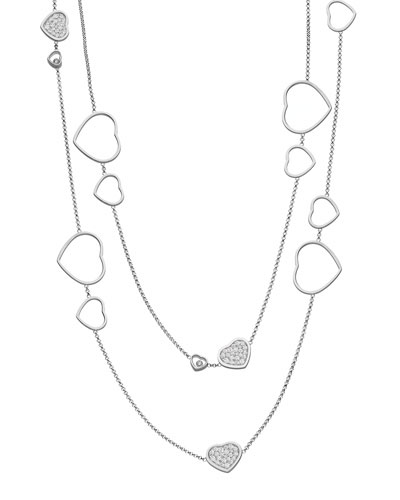 Happy Hearts 18k White Gold Diamond Long Station Necklace