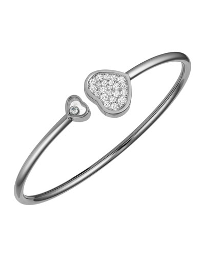 Happy Hearts 18k White Gold Pave Diamond Bangle Bracelet
