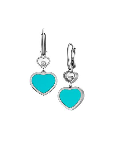 Happy Hearts 18k Turquoise & Diamond Drop Earrings