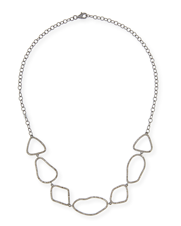 SIENA LASKER STERLING SILVER LINK CHOKER NECKLACE WITH DIAMONDS