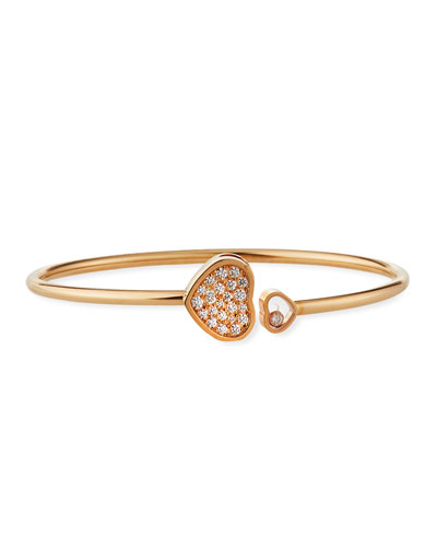 Happy Hearts 18k Rose Gold Pave Diamond Bangle Bracelet