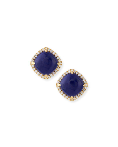 Quick Look Frederic Sage 18k Gold Lapis Diamond Stud Earrings