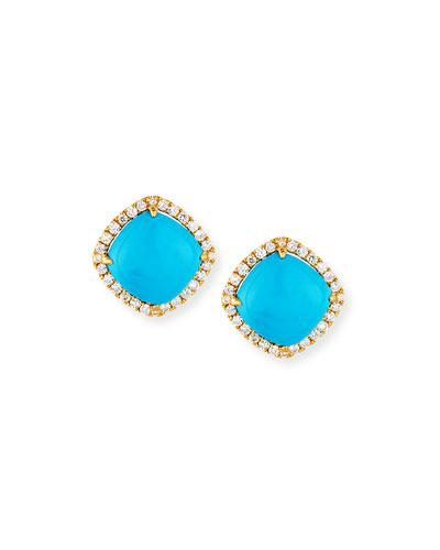 18K Gold Turquoise & Diamond Stud Earrings