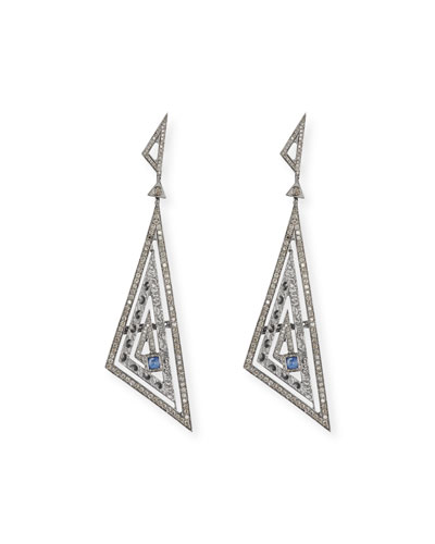 Amaia Champagne Diamond & Blue Corundum Earrings