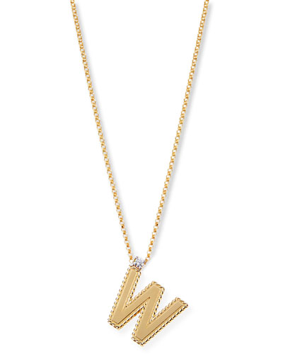 Princess 18K Yellow Gold Diamond Initial Necklace, W