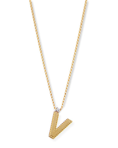Princess 18K Yellow Gold Diamond Initial Necklace, V