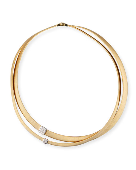 Marco Bicego Masai 18K Yellow Gold Two-Strand Necklace with Diamond Stations