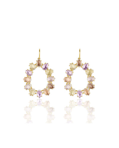 Caterina Small Open Frame Earrings in Multi-Bellini Foil