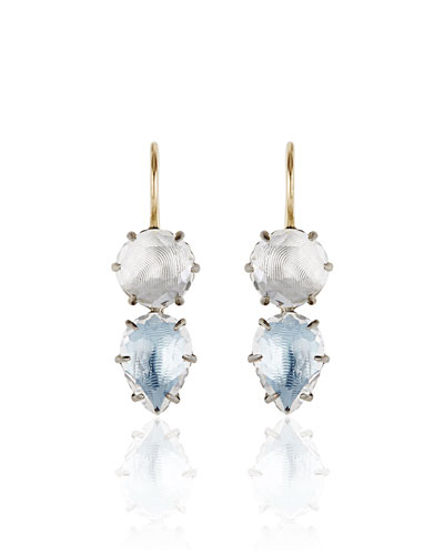 Caterina Rhodium-Washed Double-Drop Earrings in Frost & Chambray Foil