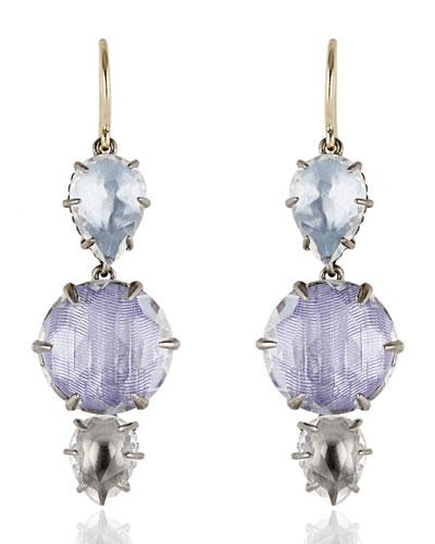 Caterina Three-Drop Earrings in Ice, Hydrangea & Dove