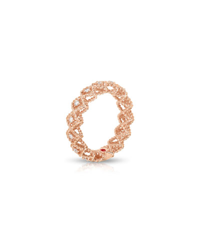 Barocco Single-Row Diamond Ring in 18K Rose Gold, Size 6
