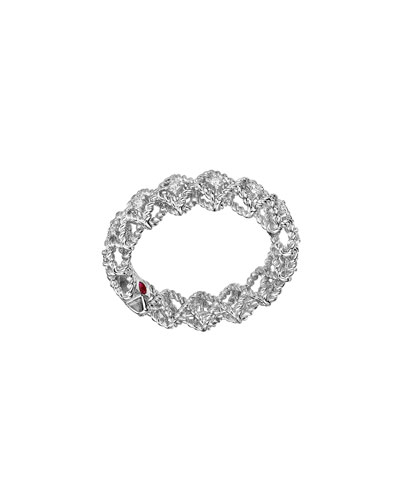 Barocco Single-Row Diamond Ring in 18K White Gold, Size 6