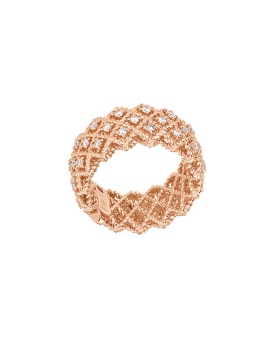 Barocco Three-Row Ring with Diamonds in 18K Rose Gold, Size 6.5