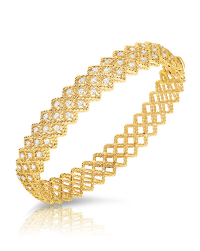 Barocco Three-Row Diamond Bracelet in 18K Yellow Gold
