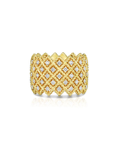 Barocco Five-Row Ring with Diamonds in 18K Yellow Gold, Size 6.5